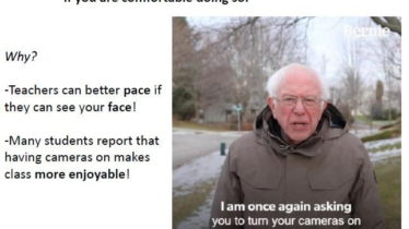 Bernie-says-keep-your-cameras-on